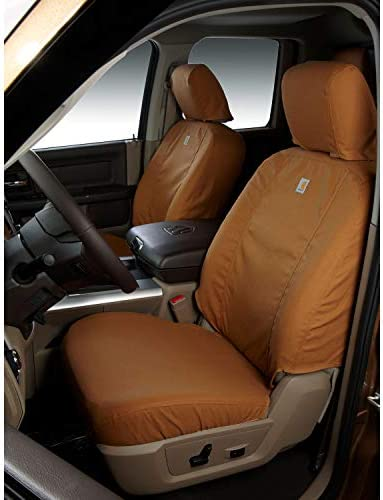 Covercraft Carhartt SeatSaver Front Row Custom Fit Seat Cover for Select Honda Pilot Models Brown SSC2507CABN Duck Weave