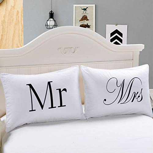 Mr and Mrs Pillow Cases Gift for Couples Wedding Decoration Bride and Groom for Her or Him His and Hers Gifts Girlfriend Gifts (Size : 50x90cm) ()