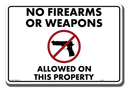 Lynch Signs 14 in. x 10 in. Sign Black and Red on White Plastic No Fire Arms by Lynch Signs