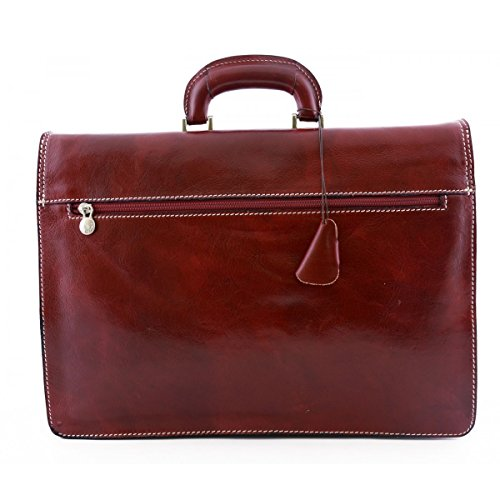 Maletín En Piel Color Rojo - Peleteria Echa En Italia - Business