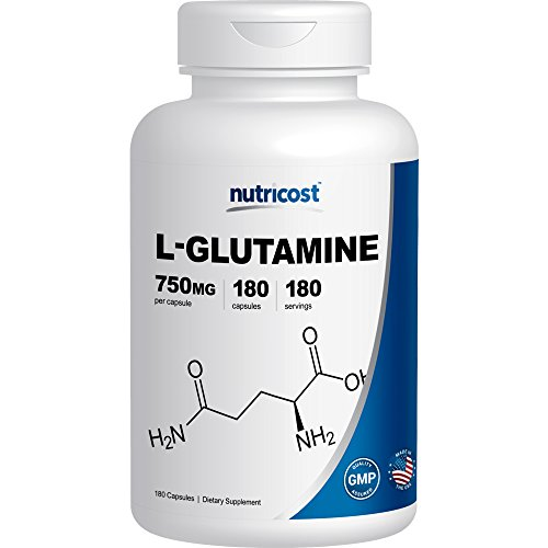Nutricost L-Glutamine 750mg; 180 Capsules
