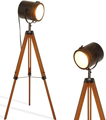 Industrial Vintage Black Tripod Floor Table Lamp