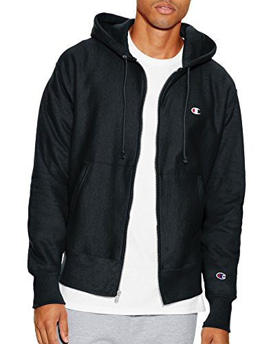 Champion Full Zip Sweatshirt (Champion LIFE Men's Reverse Weave Full-Zip Hoodie, Black, L)