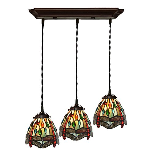 Bieye L10087 Tiffany Style Stained Glass 7-inch Dragonfly Hanging Lamp with 3-Light Pendant (Blue) (Three Light Pendant Canopy)
