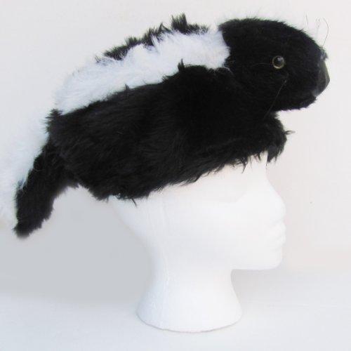 Daniel Boone Davey Crockett Skunk Head FUR Tail HAT Mountain Man Coon Skin (Skunk Costume Makeup)