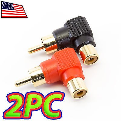 UPGRADE INDUSTRIES - [2pc] Right Angle RCA Male Female Adapter Plug Connector Jack Audio 90 degree by UPGRADE - Mail Tracking First Priority