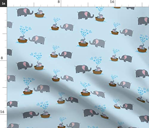 Basket Affection - Spoonflower Elephant Fabric - Bath Time Blue Nursery Decor Mom Laugh Baby Affection Tenderness Print on Fabric by The Yard - Basketweave Cotton Canvas for Upholstery Home Decor Bottomweight Apparel