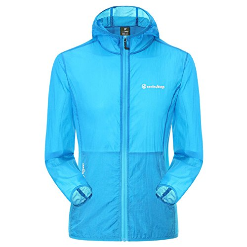 Micmall Couple Super Lightweight UPF 50+ UV Protector Quick Dry Windproof Skin Coat Blue XL