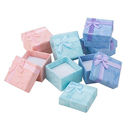 [해외]PandaHall 믹스 12 개 세트 화려한 나비 고급 네모 쥬얼리 박스 (반지, 귀걸이, 피어 싱) 케이스 종이 박스 다용도 케이스 선물 상자 41x41x26mm / PandaHall Mix 12pcs Colorful Bow Knot Luxury Square Jewelry Box (Ring, Earrings, Earrings) Ca...