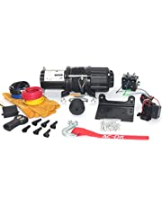 Black 4500LBS 2041KG Electric Winch Wireless Remote Control With Yellow Gloves 12V