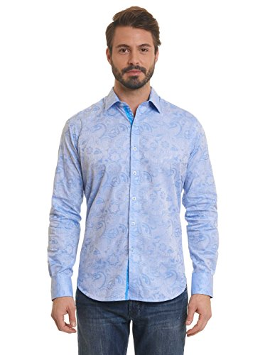 Robert Graham Coolbrook Long Sleeve Light Blue Woven Shirt Classic Fit M