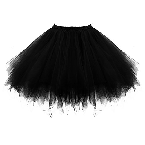 Honeystore Women's Short Vintage Ballet Bubble Puffy Tutu Petticoat Skirt Black]()