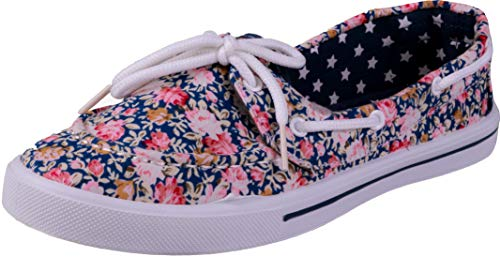 Enimay Women's Original Style Slip-On Casual Canvas Boat Shoe Loafer Flats 1 Blue Roseprint Size 5