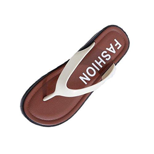 FEITONG Mujer Verano Sandalias planas Zapatillas Ocio Suave Dar la vuelta Flops Zapatilla de playa Blanco