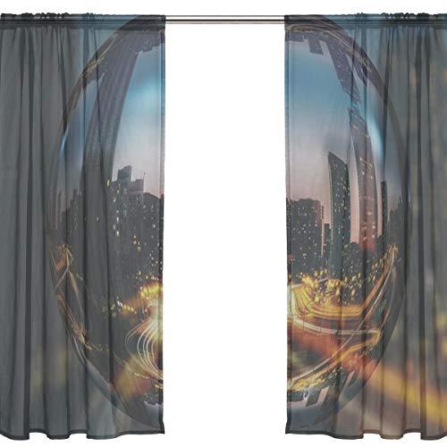 RH Studio Sheer Curtain Drape 2 Panel Toronto Ontario Canada Road Door Window Gauze Curtains for Living Room Bedroom Office(55x78inch) (Toronto Sheer Curtains)