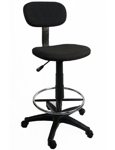 Office / Lab / Classroom Drafting Chair / Adjustable to 28.5' / 360 Footrest & Swivel / Pneumatic Lift / BLACK