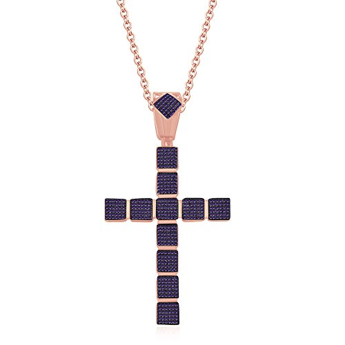 (Dividiamonds 1.25 Carat Amethyst Diamond Fancy Cross Pendant 18