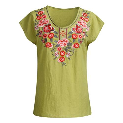(KI-8jcuD Women's V-Neck top Casual Flower Embroidery Short-Sleeved Elegant top Green)