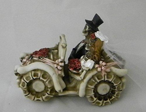 Wedding Reception Bride Groom Skeleton Car Gothic Cake Topper -