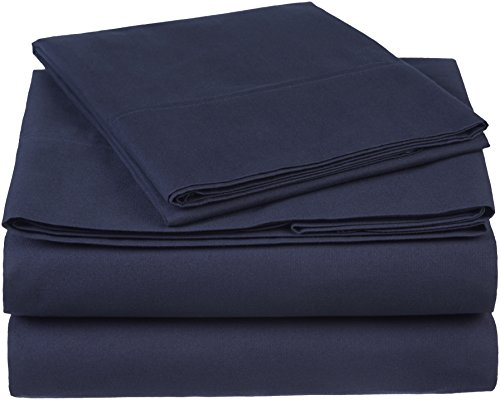 - Pinzon 300 Thread Count Organic Cotton Bed Sheet Set, Twin, Navy Blue
