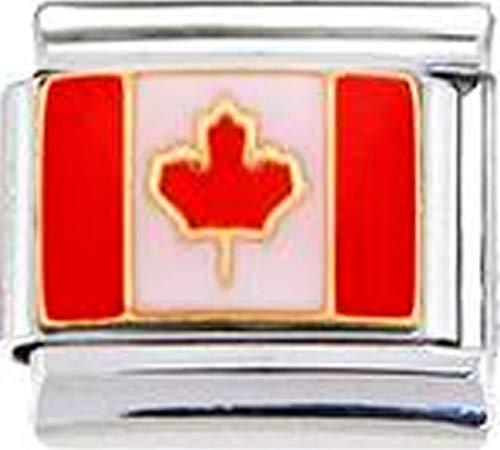 Stylysh Charms Canada Canadian Flag Enamel Italian 9mm Link PE005