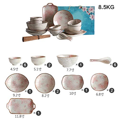 Creative Japanese Ceramic Tableware Set Soup Bowl/Rice Bowl/Plate/Spoon/Chopsticks, Suitable For 2-6 Peoples (Color : Snow cherry, Size : Six-person meal)
