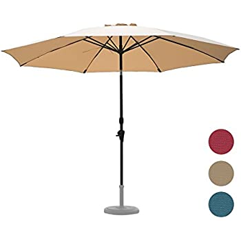 C Hopetree 11u0027 Large Shade Outdoor Patio Market Umbrella, Collar Tilt, 8  Fiberglass Ribs, 250gsm Polyester Canopy, Beige