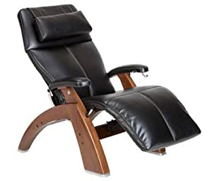 Human Touch Zero Gravity The Perfect Chair - Manual Recline Black SoftHyde with Walnut Wood