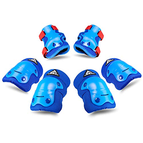 (SKL Kids Knee Pads Elbow Pads Wrist Guards 3 in 1 Protective Gear Set for Multi Sports Outdoor Activities Mens Cycling Helmet - Blue)