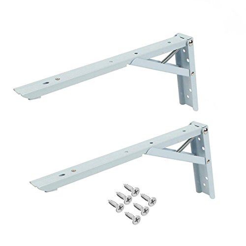 Trailer Bbq Silver Giant (Rannb 2Pcs 12 Inch Spring Loaded Sturdy Folding Shelf Support Brackets Short Release Arm with Screws for Work Bench Table)
