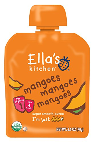 Ella's Kitchen Organic 4+ Months Baby Food, Mangoes Mangoes Mangoes, 2.5 oz. Pouch (Pack of 6)