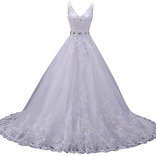 JAEDEN Damen Brautkleider Lang A Linie Tüll Hochzeitskleider V-Ausschnitt Strandkleid Elfenbein NYGsXLiw
