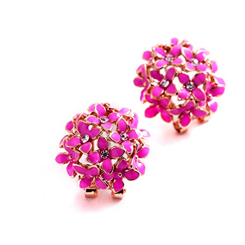 Youbella Gracias Collection Floral Dark Pink Crystal Earrings For Girls And Women