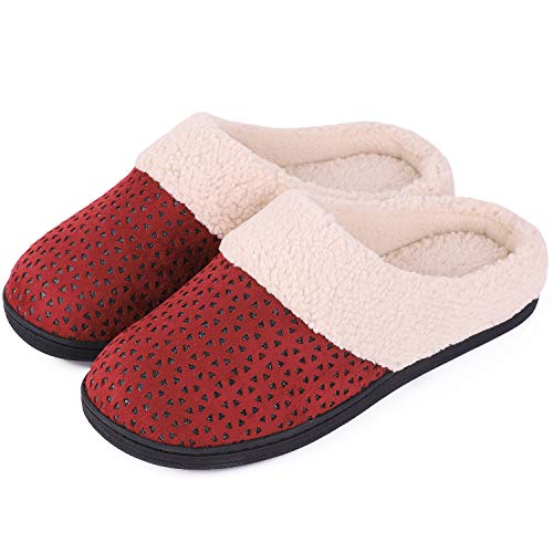 Women's Comfort Micro Suede Memory Foam Slippers Anti-Skid Plush Fleece House Shoes for Indoor Outdoor Use (11-12 M US, Burgundy)