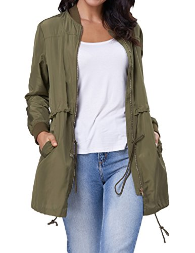 Kate Kasin Women's Lightweight Fall Long Trench Military Jacket Coat(L Army Green) (Trench Satin Jacket)