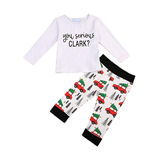 Baby Kids Boy Long Sleeve T Shirt Tops Car Pattern Pants Christmas Clothes 2 Pcs Pajamas Outfit Set (7-8 T) for $<!--$6.99-->