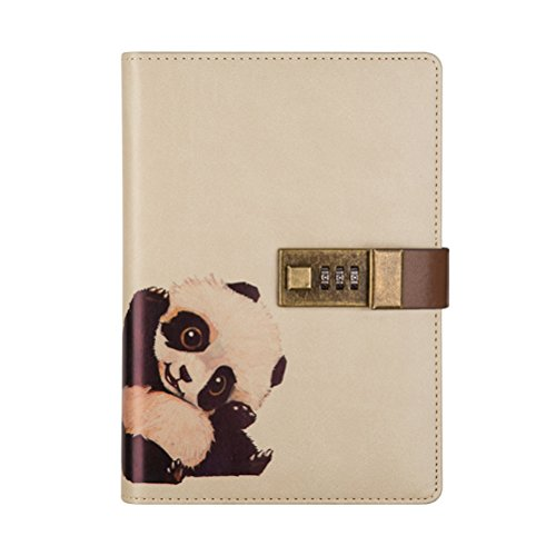 Travel Notebook with Combination Lock, Diary Writing PU Leather Animals Journal Notepad with Pen Holder for Boys and Girls, Refillable A5 Planner, 112 Sheets (Panda)