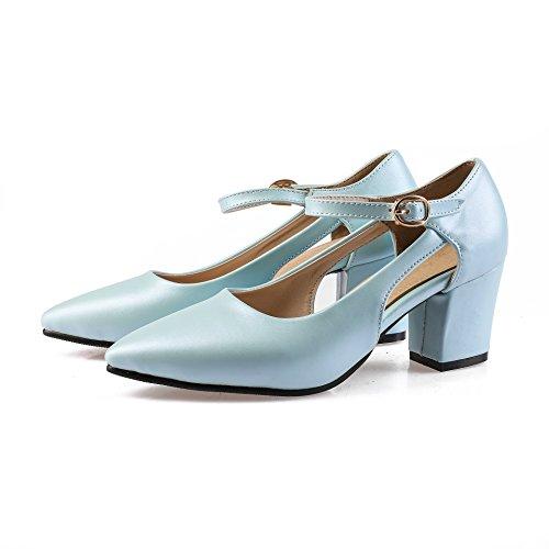 Bloc QIN Peu Profonde Chaussures Chaussures amp;X Femmes Talon Light Bouche Blue r7wES7
