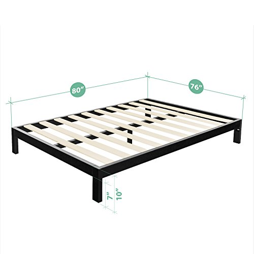 Zinus Arnav Modern Studio 10 Inch Platform 2000 Metal Bed Frame / Mattress Foundation / No Box Spring Needed / Wooden Slat Support / Good Design Award Winner, King