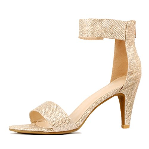 Guilty Shoes Womens Classic Comfort Sexy Open Toe Mid Heel Ankle Strap Dress Stiletto Heeled-Sandals, Champagne Metallic, 9