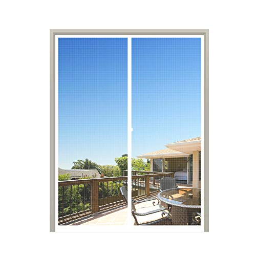 MAGZO Magnet Screen Door 48 x 80, Magnetic Mesh with Heavy Duty for Double Door Fits Door Size up to 48