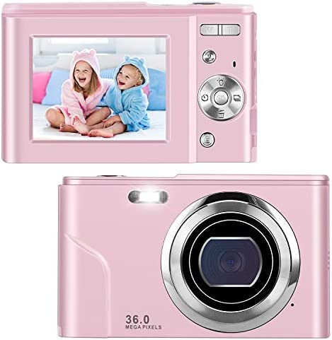 IEBRT Ultra HD Digital Camera,1080P Mini Vlogging Camera Video Camera LCD Screen 16X Digital Zoom 36MP Rechargeable Point and Shoot Camera for Compact Portable Kids Teens Gift (Pink)