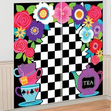 5ft Mad Hatter Tea Party Wall Decoration Backdrop Alice In