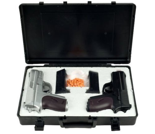 Double Eagle P618SB Twin Spring Dual Pistol 6mm Hand Gun with Case, Black/Silver - Airsoft Guns Dual Pistols