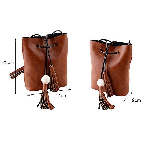 Brown Bag Handbag Fashion Messenger Tote Shoulder Pu Light Purse Contever Bags Hobo Body Cross Women xI6Fzw