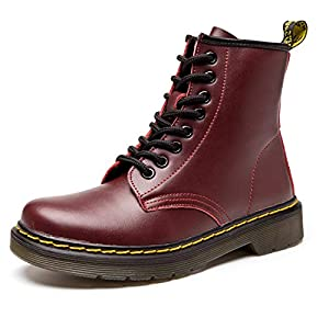 Koask Women's Round Toe Lase-up Ankle Boots Ladies Leather Combat Booties Fashion Boots(6.5 M US-37) Red