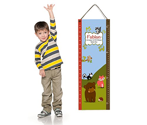 Personalized Forest Animals Autumn Colors, Measurement Growth Chart in Centimeters and Inches (Chart Autumn)