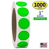"1"" Neon Green Round Color Coding Circle Dot"