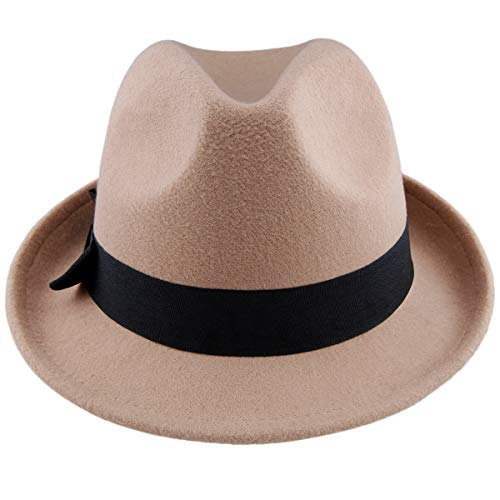 Samtree Fedora Hats for Women,Winter Roll-up Brim Trilby Jazz Cap(Tan)