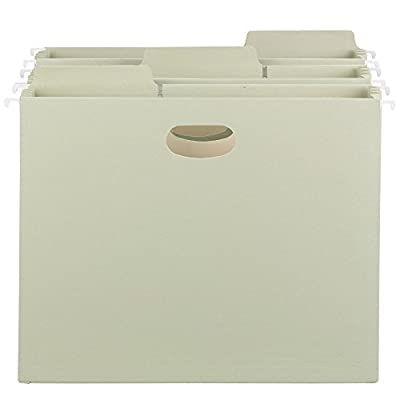 """Smead FasTab Hanging File Pocket, 1/3-Cut Built-in Tab, 3-1/2"""" Expansion, Letter Size, Moss, (64293)"""